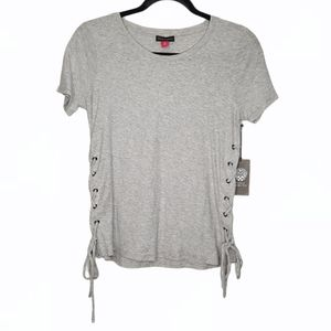 Vince Camuto Heather Grey Lace-Up Tee